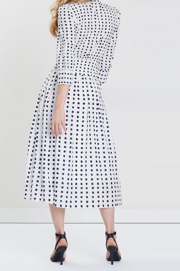Callie Checked Art Dress (White Checked)