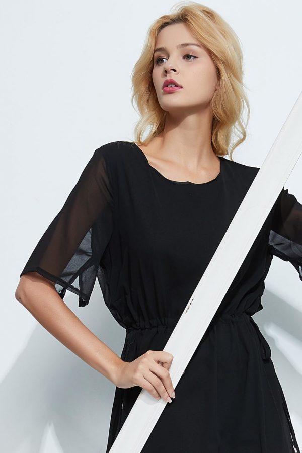 Camila Chiffon Tie Up Dress (Black)