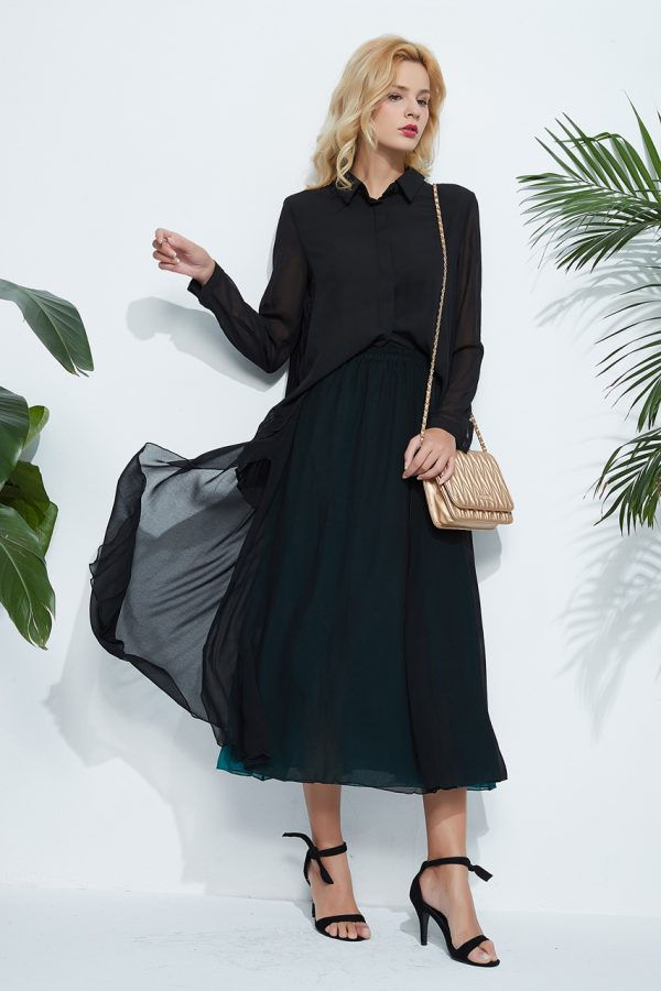 Charlotte Pleated Back Shirt (Black)