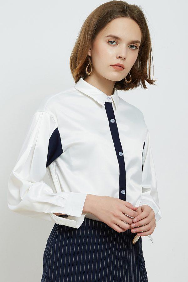 Elise Colour Block Chiffon Blouse (White)