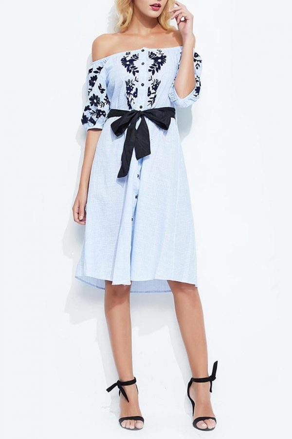 Ivy Off Shoulder Dress (Light Blue)