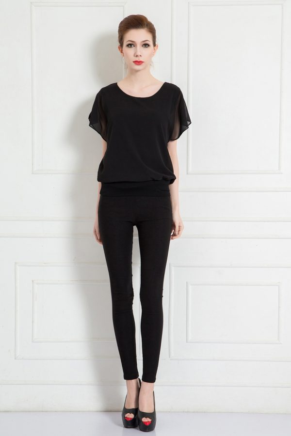 Josephine Chiffon Top (Black)