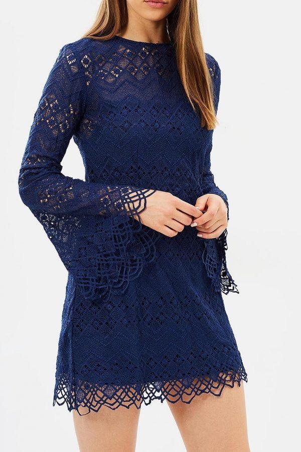 Kacey Flare Sleeve Lace Dress (Navy)