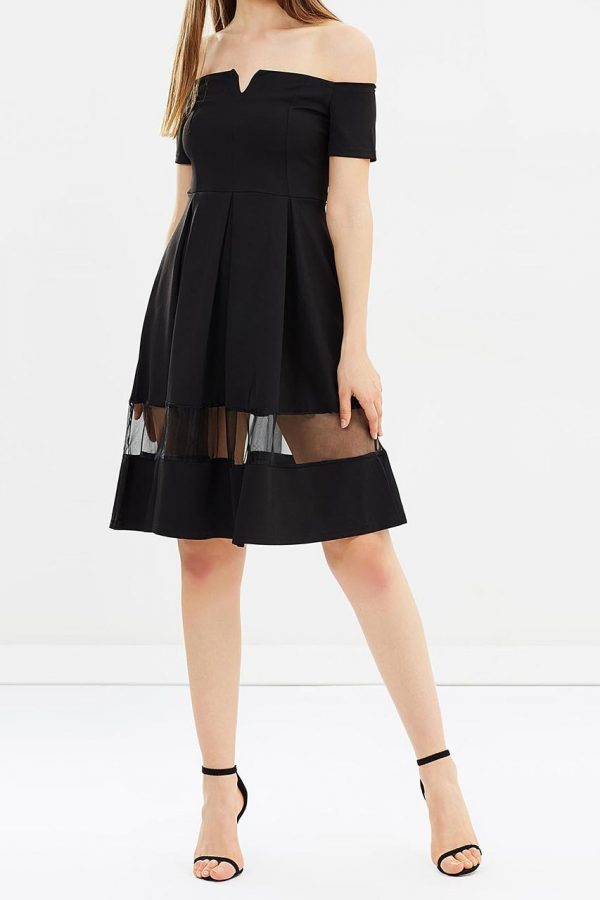 Khloe Off Shoulder Dress (Black)