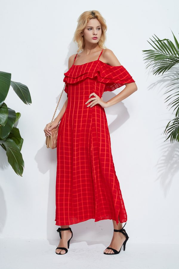 Lea Off Shoulder Checkered Dress (Red)