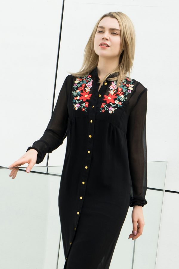 Maggie Sheer Embroidered Dress (Black)
