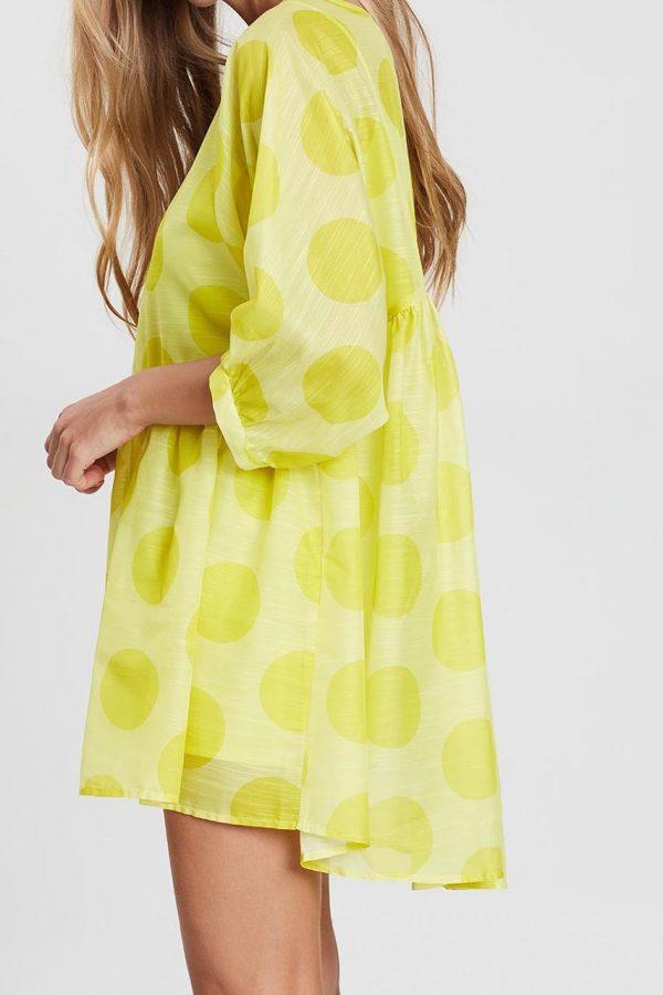 Mia Polka Dot Tunic Dress (Yellow)
