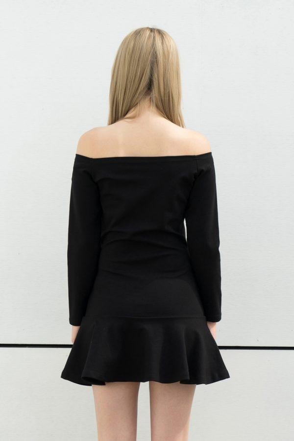 Nora Off Shoulder Tunic Dress (Black)