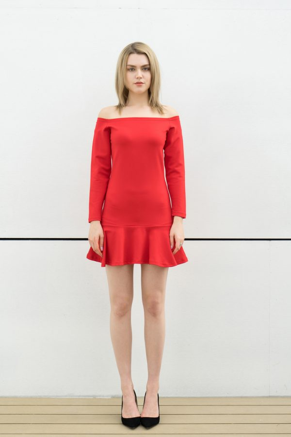 Off Shoulder Tunic Dress (Red)