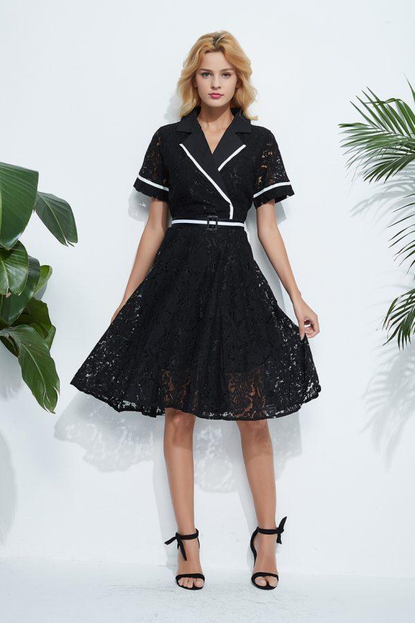 Paisley Wrap Midi Dress (Black)
