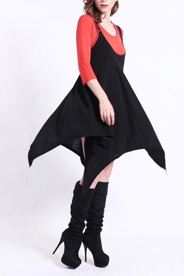 Piper Asymmetrical Dress (Black)