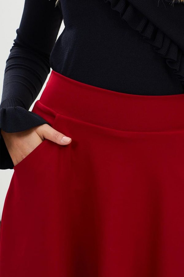 Red Pocket Front Skirt (Red)