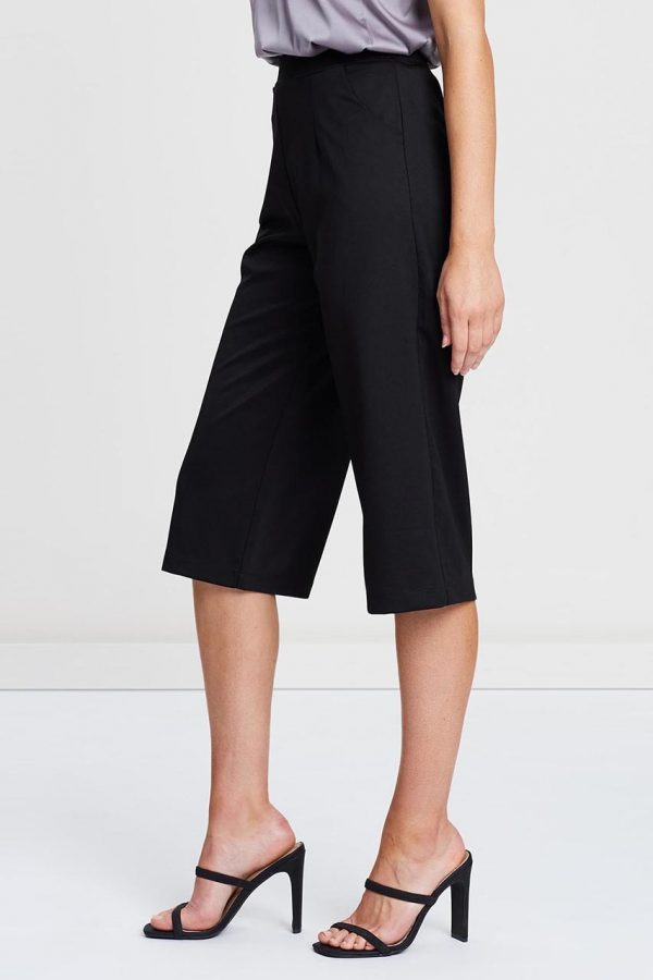 Taylor Elastic Wide Leg Pants (Black)