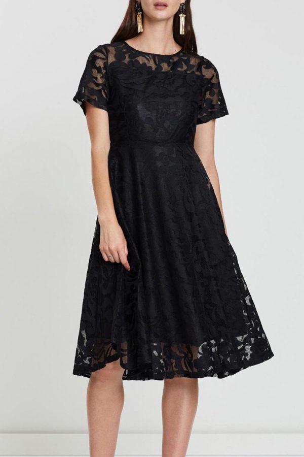 Victoria Floral Dress (Black)
