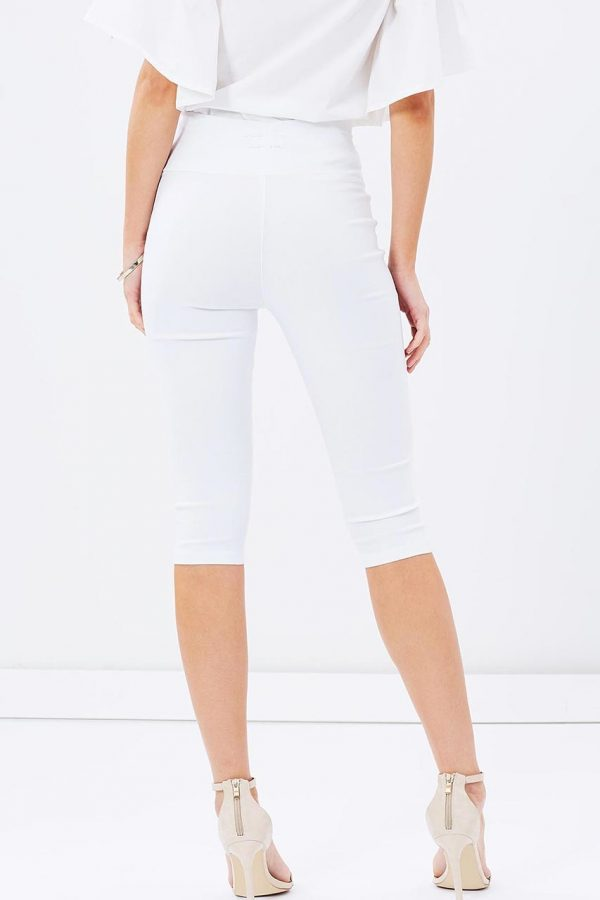 White Lila 3/4 Cropped Pants (White)